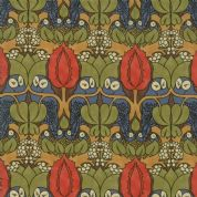 Moda - Voysey by The V&A - 6669 - Floral Reproduction, The Owl on Brown  - 7321 12 - Cotton Fabric